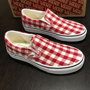 vans classic slip on gingham racing red